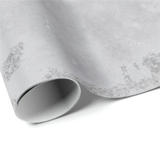 Silberne weiße graue Marmorzement-Stein-Bürsten Geschenkpapier