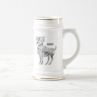 Silberne Widder-Tierkreis-Gewohnheits-Tasse Bierkrug