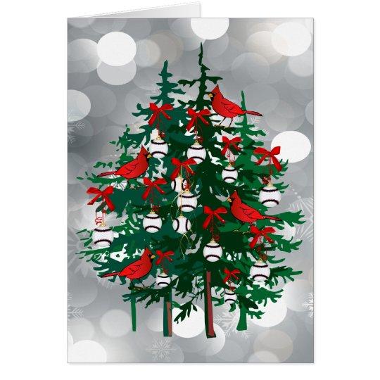 Silberner Bokeh Baseball-Weihnachtsbaum mit rotem Grußkarte