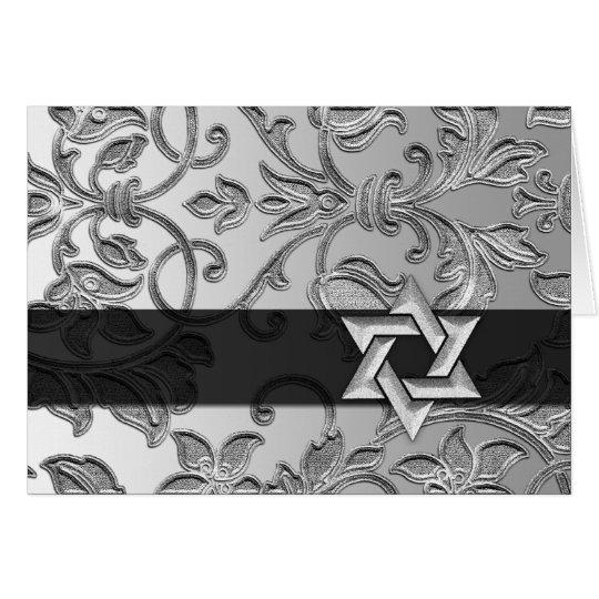 Silberner Damast-Silber-Davidsstern Danken Ihnen Mitteilungskarte