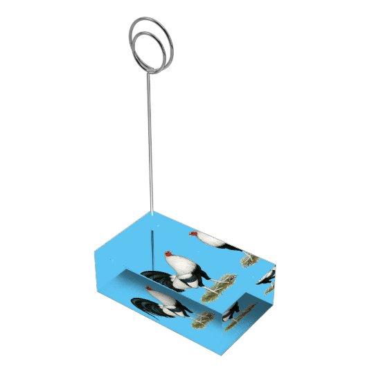 Silberner Duckwing Kampfhahn Platzkartenhalter
