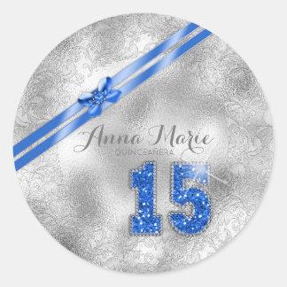 Silberner Geburtstag blaues ID382 des Runder Aufkleber