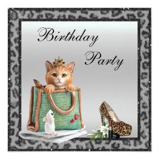 Silberner Geburtstag Prinzessin-Kitten Faux Individuelle Ankündigskarten