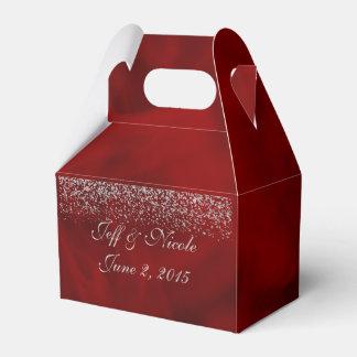 Silberner Glitter auf rotem Hochzeits-Gastgeschenk Geschenkschachteln
