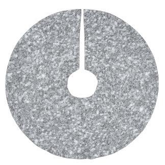 Silberner Glitter-Beschaffenheits-Druck Polyester Weihnachtsbaumdecke