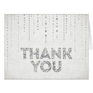 Silberner Glitter-Blick danken Ihnen zu kardieren Grußkarte