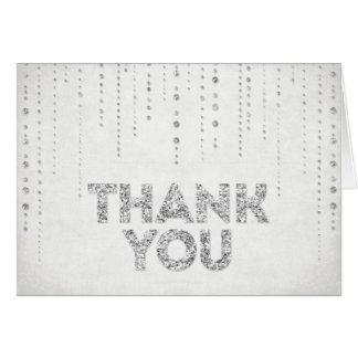 Silberner Glitter-Blick danken Ihnen zu kardieren Karte