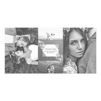 Silberner Glitter-danken elegante Foto-Hochzeit Karte