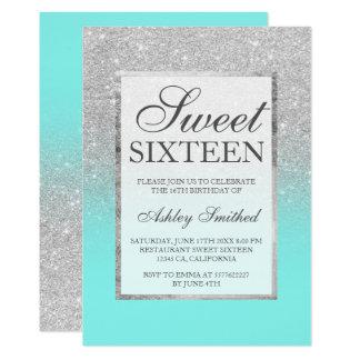 Silberner Glitter des Imitats eleganter 12,7 X 17,8 Cm Einladungskarte