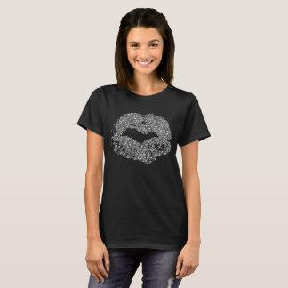 Silberner Glitter-LippenT - Shirt