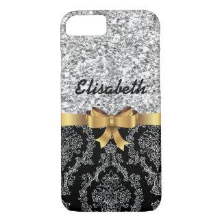 SILBERNER GLITTER-SCHWARZ-DAMAST-GOLDENES iPhone 8/7 HÜLLE