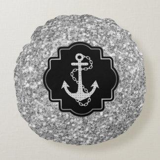Silberner Glitter u. Seeboots-Anker Rundes Kissen