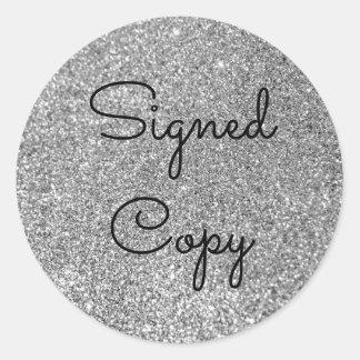Silberner Glitter unterzeichnete Kopie Runder Aufkleber