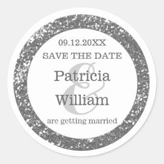 Silberner Glitzer, der Save the Date Wedding ist Runder Aufkleber