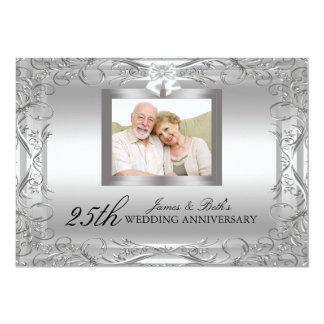 Silberner Hochzeitstag des Damast-50. laden ein 12,7 X 17,8 Cm Einladungskarte