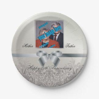 Silberner Hochzeitstag Pappteller 17,8 Cm