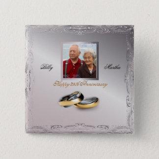 Silberner Hochzeitstag Quadratischer Button 5,1 Cm