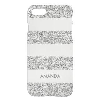 Silberner Imitat-Glitter-weißer Streifen addieren iPhone 8/7 Hülle