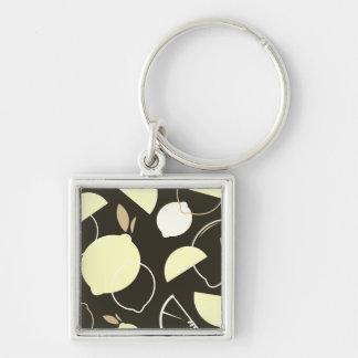 Silberner Knopf mit ursprünglicher Frucht Silberfarbener Quadratischer Schlüsselanhänger