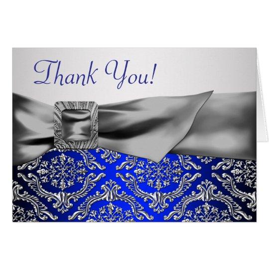Silberner Königsblau-Damast danken Ihnen Karte