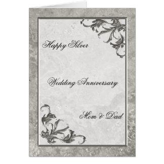 Silberner Marmor-25. Hochzeitstag-Karte Karte