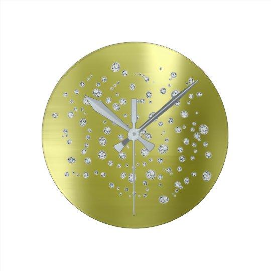 Silberner Minze grün Swarovski Kristall Runde Wanduhr