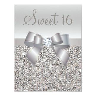 Silberner Paillette-, Bogen-u. Diamant-Druckbonbon 10,8 X 14 Cm Einladungskarte