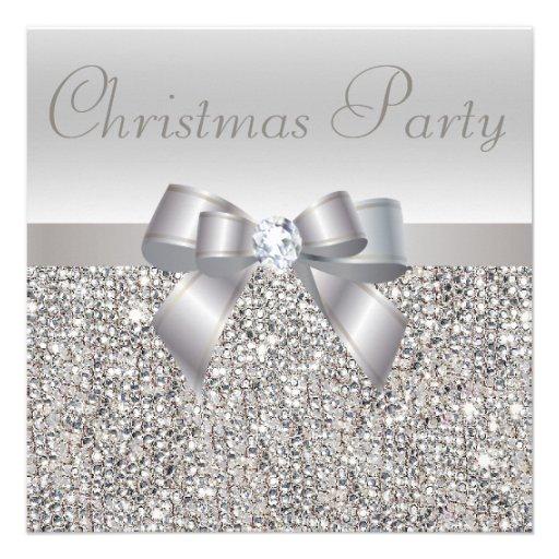 Silberner Sequins-WeihnachtsParty-Bogen u. Individuelle Einladungskarten