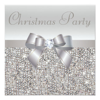 Silberner Sequins-WeihnachtsParty-Bogen u. Quadratische 13,3 Cm Einladungskarte