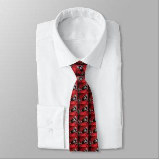 Silberner Sporn auf roter Western-Krawatte Bedruckte Krawatten