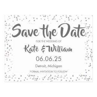 Silberner Stardust Confetti Save the Date Postkarte