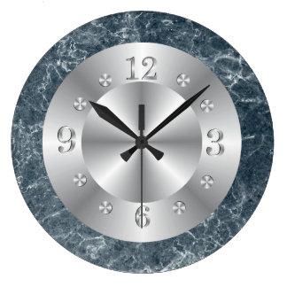 Silberner und blauer Imitat-Marmor Große Wanduhr
