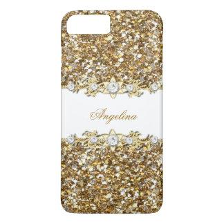 Silberner weißes GoldImitat-Diamant-Juwel-Glitter iPhone 8 Plus/7 Plus Hülle