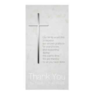 Silbernes christliches QuerBeileid danken Ihnen Photo Karten Vorlage