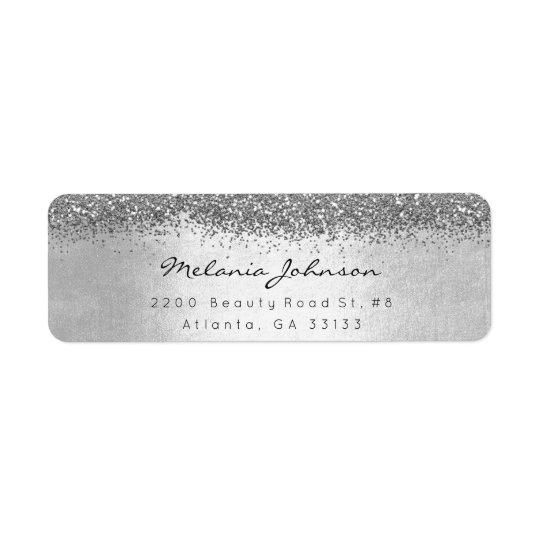 Silbernes funkelnd Glitter-Silber metallisch Rücksendeetiketten
