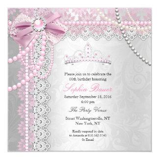 Silbernes Geburtstags-Party Prinzessin-Pink Pearl Quadratische 13,3 Cm Einladungskarte
