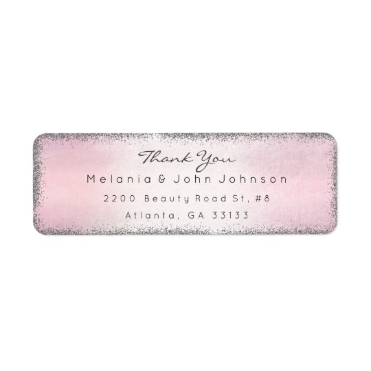 Silbernes Glitter-Rosa danken Ihnen das Rücksende Aufkleber