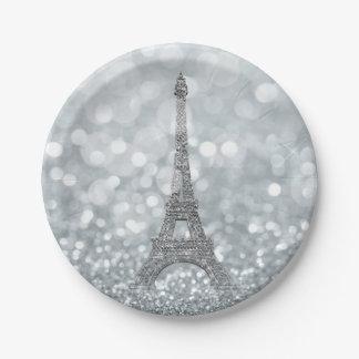 Silbernes Glitzer-Schein Bling Eiffel Turm-Party Pappteller
