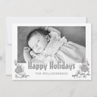 Silver Happy Holidays Typography Photo