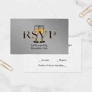 Silbernes Goldchampagne-Glas-Stern-neues Jahr UAWG Visitenkarte