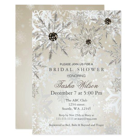 silbernes Goldwinter-Brautparty laden ein 12,7 X 17,8 Cm Einladungskarte