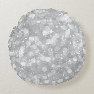 Silbernes Grau Bokeh Glitter Rundes Kissen