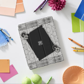 Silbernes Grau-Damast und Schwarz-Entwürfe iPad Smart Cover