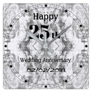Silbernes Grau-Marmor-25. Hochzeitstag Quadratische Wanduhr