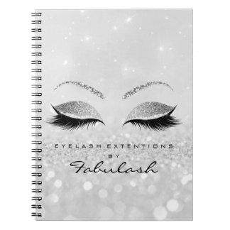 Silbernes Grau peitscht Glitzer-Augen-Make-up Spiral Notizblock