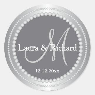 Silbernes Grau-personalisiertes Runder Aufkleber