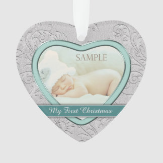 Silbernes Herz-aquamarines Baby-erstes Weihnachten Ornament