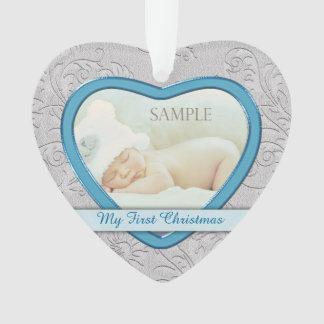 Silbernes Herz-blaues Baby-erstes Weihnachten Ornament