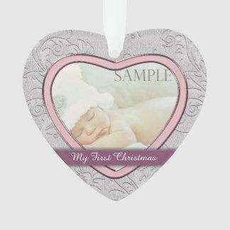 Silbernes Herz-Rosa-Baby-erstes Weihnachten Ornament