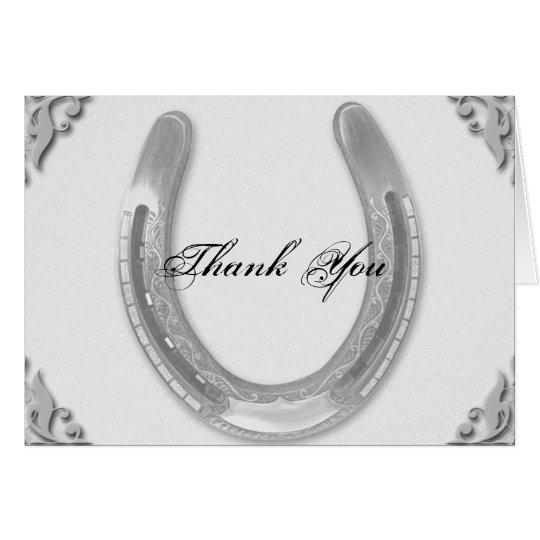 Silbernes Hufeisen auf weißer Hochzeit danken Karte